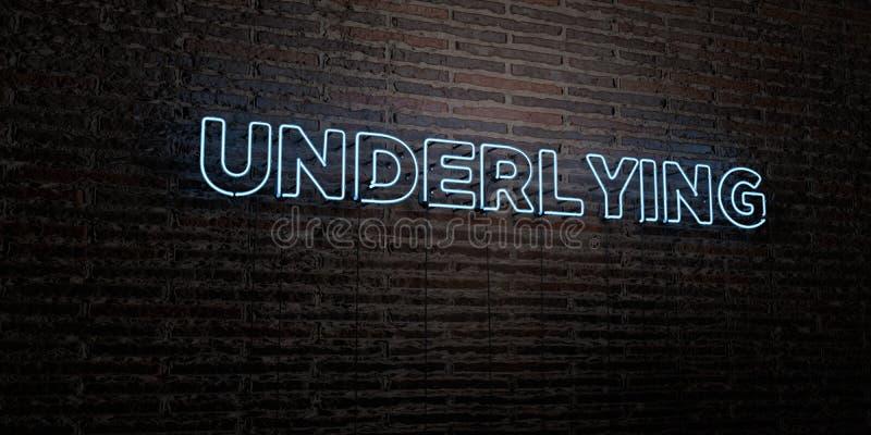 强调的-在砖墙背景的现实霓虹灯广告- 3D回报了皇族自由储蓄图象 向量例证