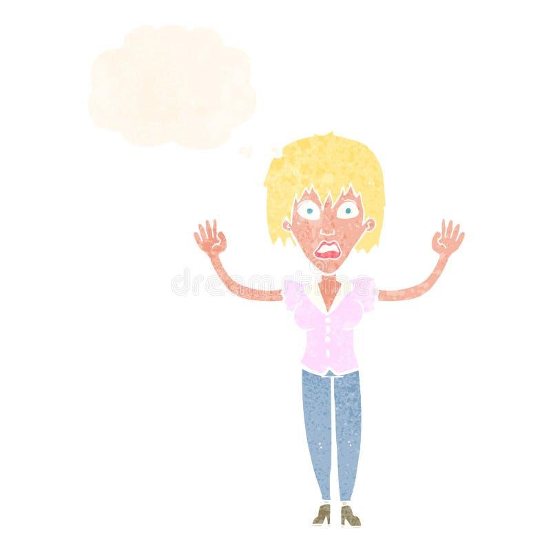 强调说与想法泡影的动画片妇女 皇族释放例证