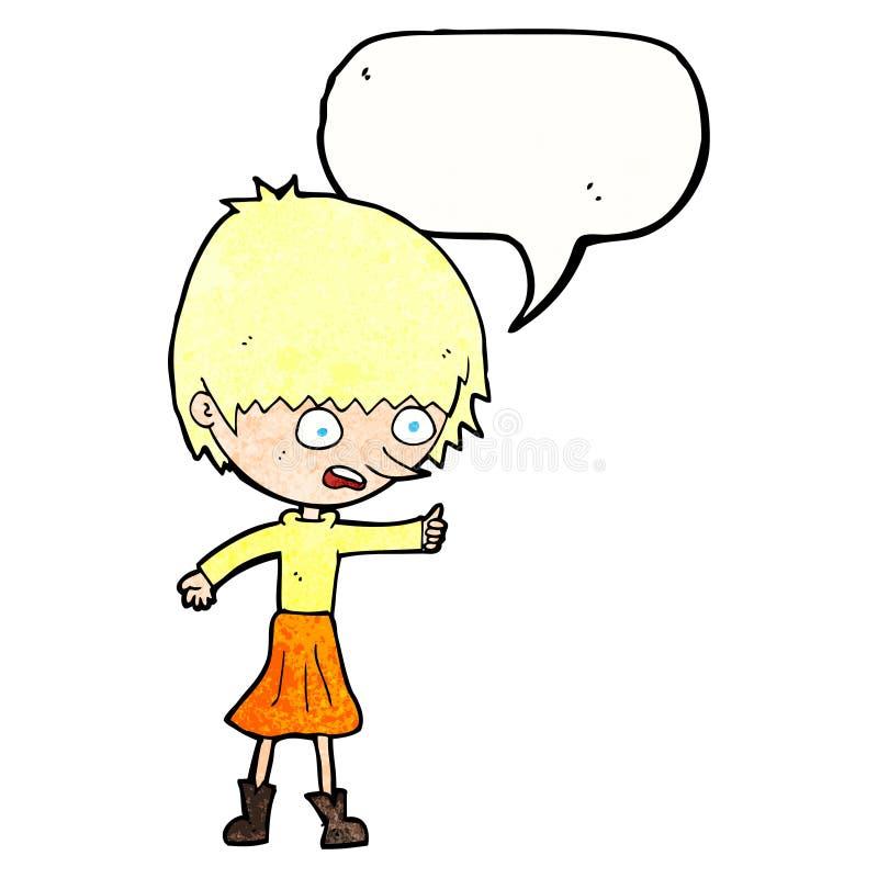 强调说与讲话泡影的动画片妇女 向量例证