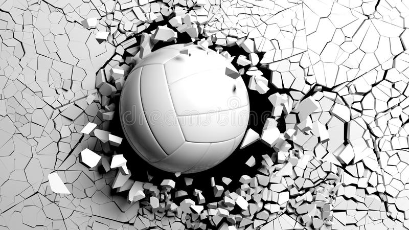 强迫打破通过白色墙壁的排球球 3d例证 库存照片