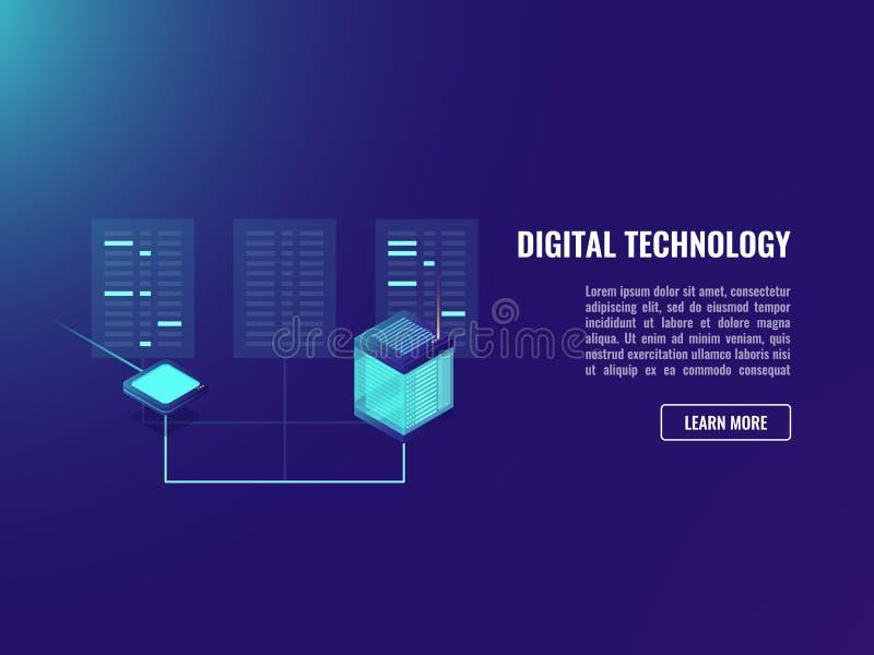 归档交换,客户端服务器应用程序,网络服务器室,数据内码,密码学霓虹黑暗 皇族释放例证