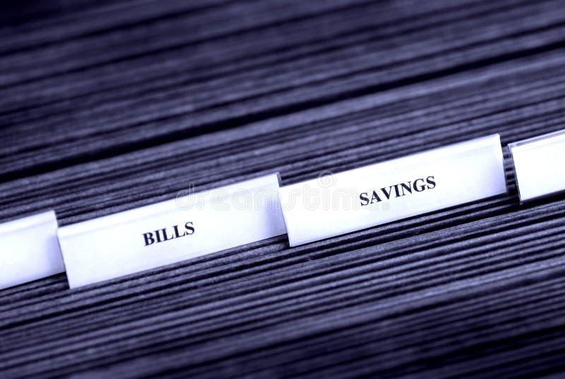 归档储蓄选项的票据 免版税库存照片