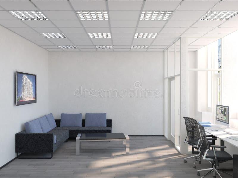 当代会议室侧视图有城市视图和白天 3d翻译 库存例证