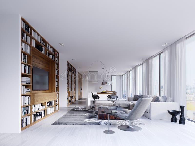 当代内部有有一个斯堪的纳维亚式厨房的一个明亮的客厅有与书和电视的固定木架子的 皇族释放例证