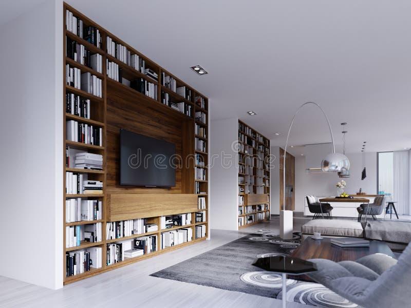 当代内部有有一个斯堪的纳维亚式厨房的一个明亮的客厅有与书和电视的固定木架子的 库存例证