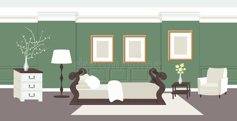 当代卧室内部空有床和家具舱内甲板的没有人家庭现代公寓设计客厅 皇族释放例证