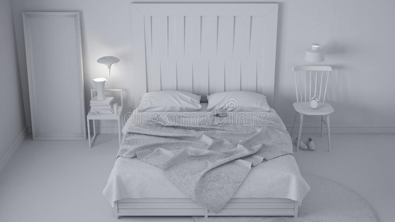当代卧室,与木床头板,斯堪的纳维亚白色eco别致的设计的床总白色项目  图库摄影