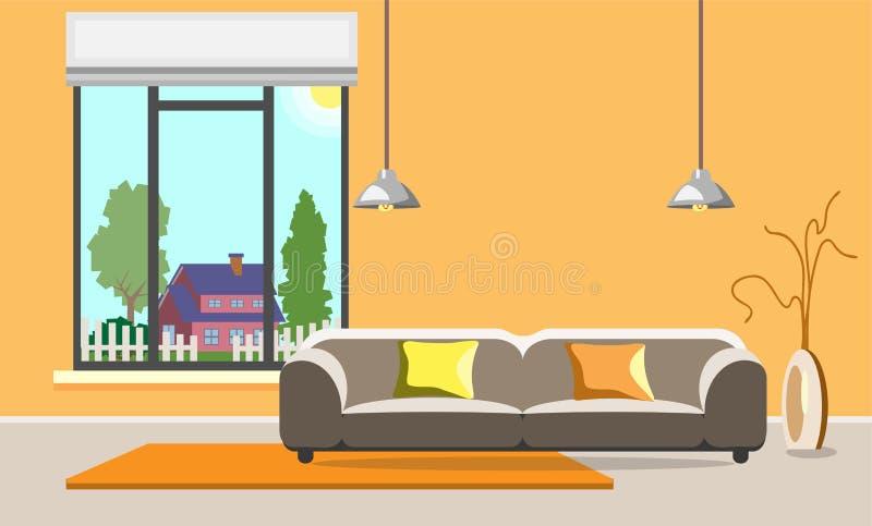 当代客厅设计 内部现代空间 平的样式 向量例证