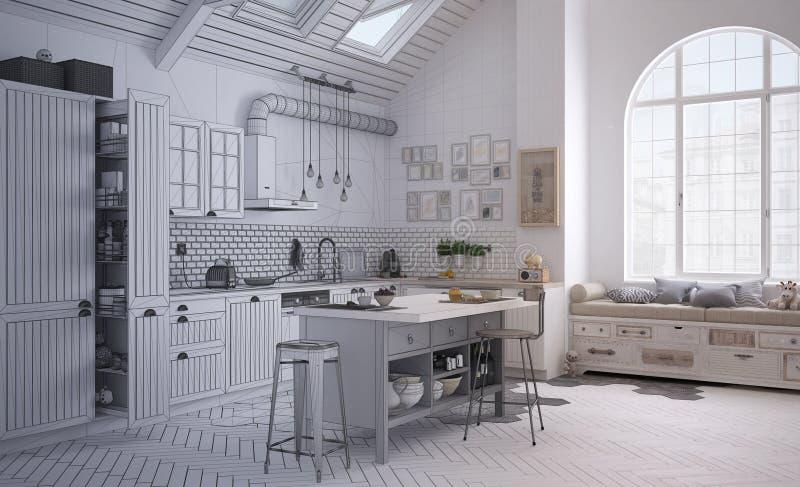 当代斯堪的纳维亚厨房,minimalistic建筑学内部未完成的项目草稿  免版税库存照片