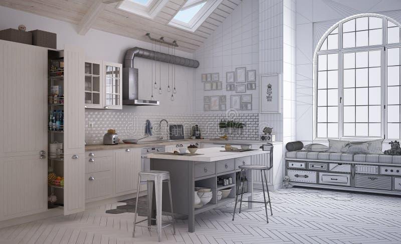 当代斯堪的纳维亚厨房,minimalistic建筑学内部未完成的项目草稿  库存照片