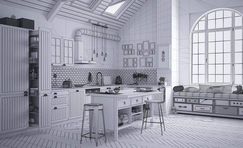 当代斯堪的纳维亚厨房,minimalistic建筑学室内设计未完成的项目草稿  库存图片