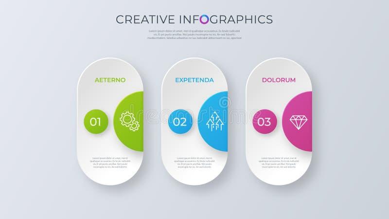 当代最低纲领派与三的传染媒介infographic设计选择 皇族释放例证