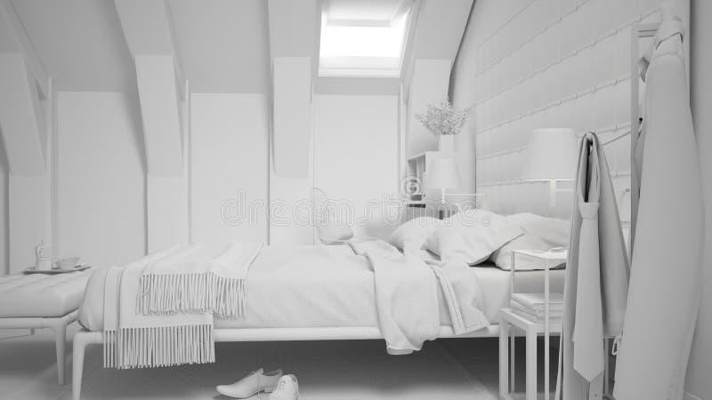 当代灰色卧室总白色项目豪华顶楼、床和地毯的,经典室内设计 库存例证