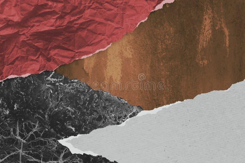 当代艺术拼贴画做了被撕毁的纸 免版税库存图片
