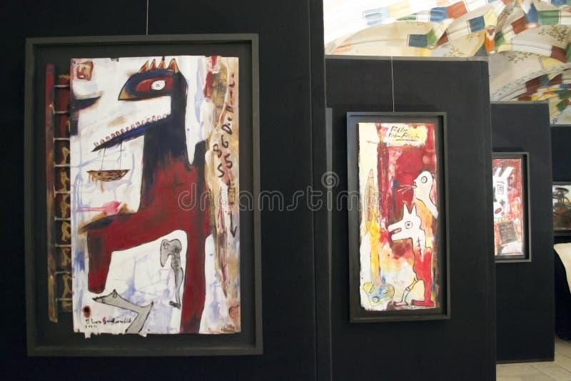 当代艺术的陈列在画廊的 库存照片