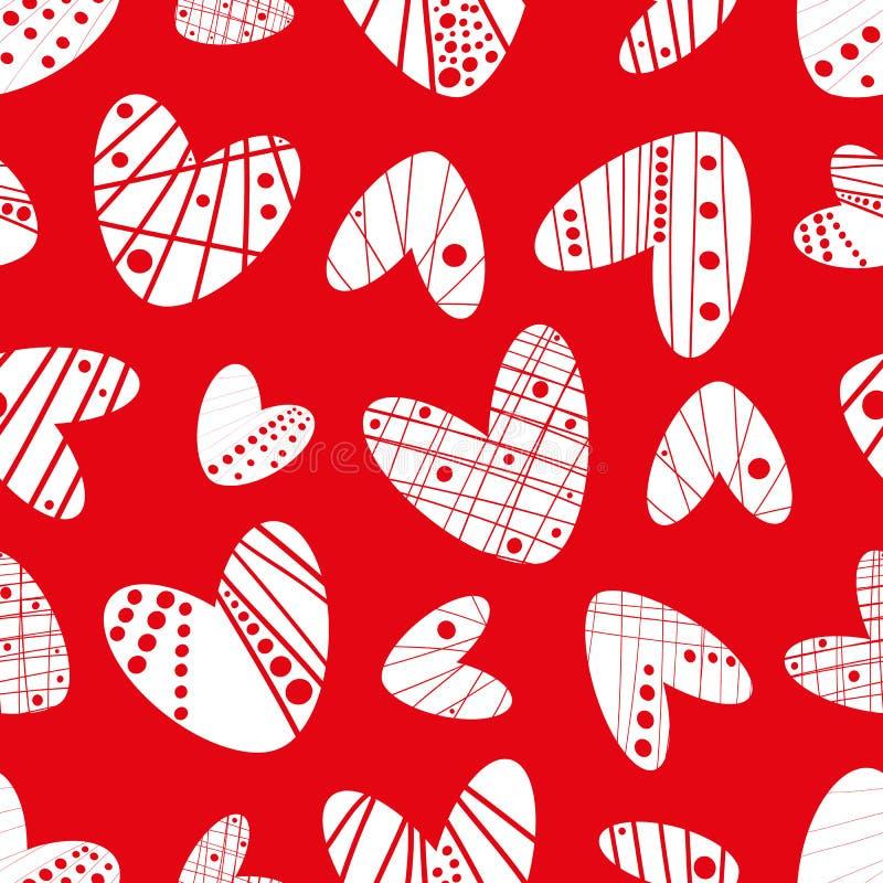 当代质朴的在红色背景的钢板蜡纸作用白色心脏无缝的传染媒介样式 库存例证