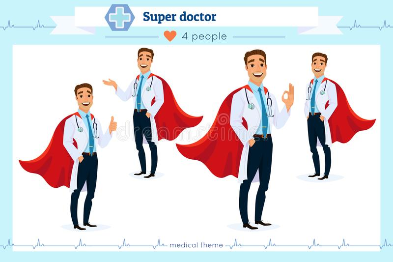 当前在各种各样的行动的套聪明的超级医生,隔绝在白色背景 不同的姿态 平的动画片样式 库存例证