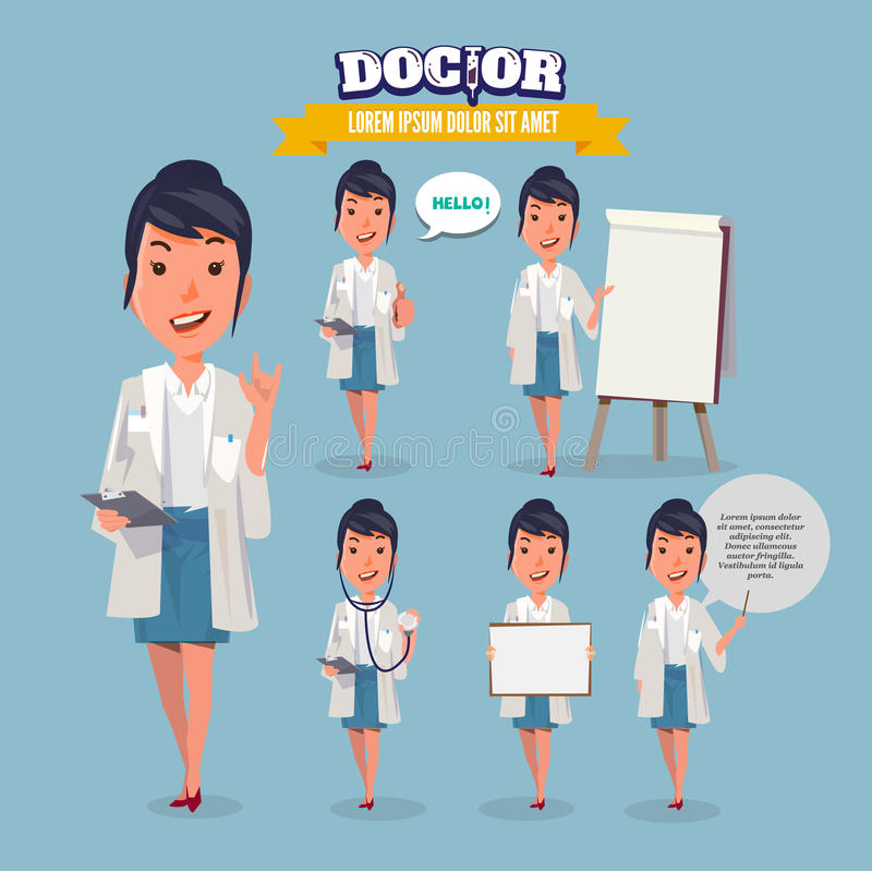 当前在各种各样的行动的聪明的医生 字符设计 doc. 库存例证