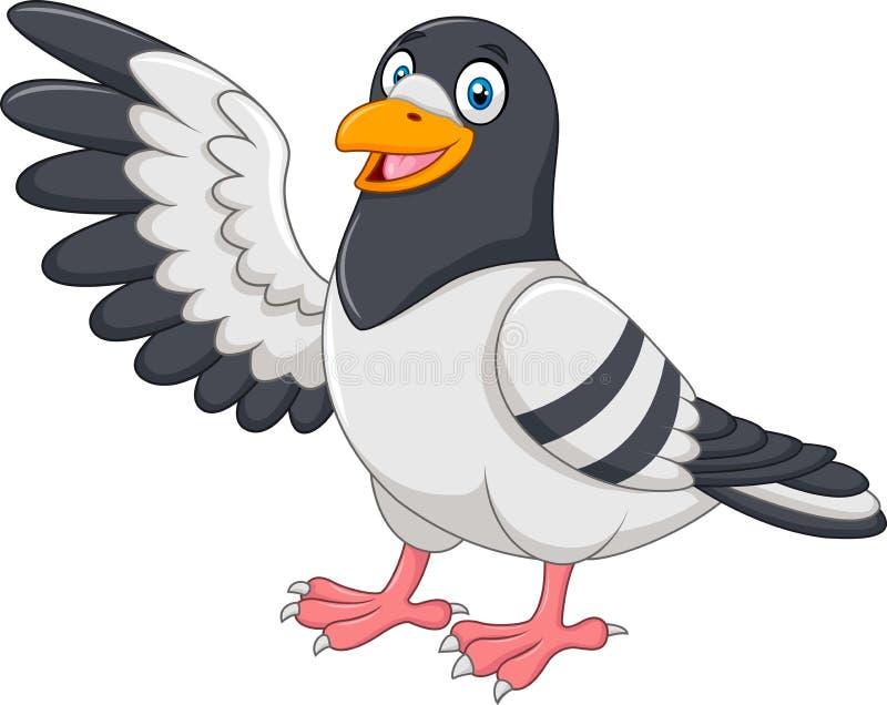 当前在白色背景的逗人喜爱的鸽子鸟 皇族释放例证