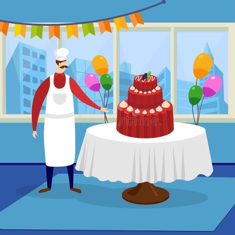 当前巨大的美丽的欢乐蛋糕的人厨师 向量例证