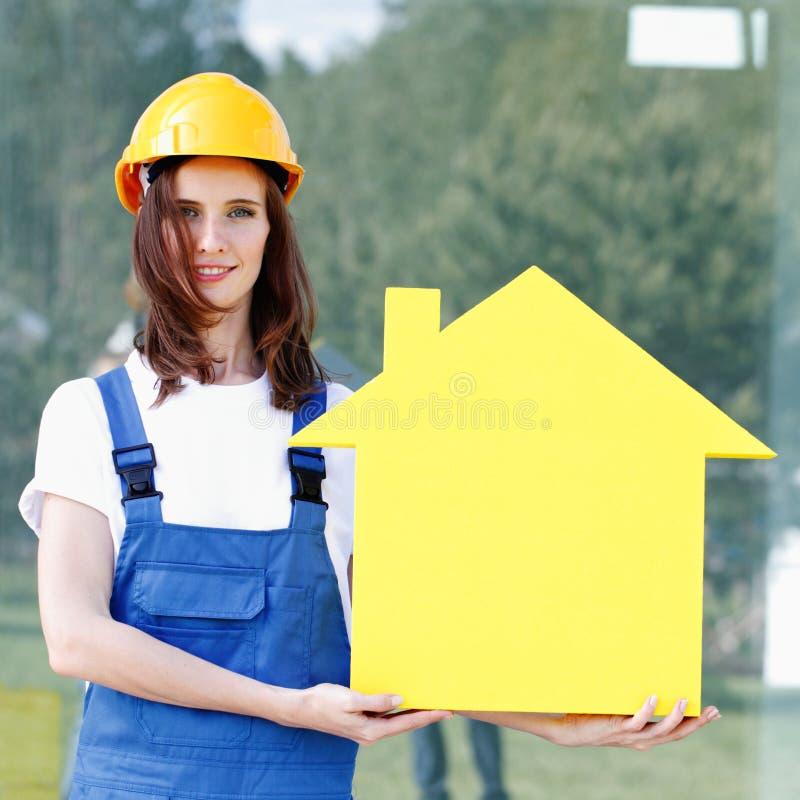 当前房子的女监工 免版税库存照片