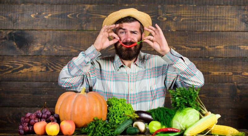 草帽农夫_当前辣椒木背景的农夫 草帽的土气农夫喜欢辣口味 人举行胡椒