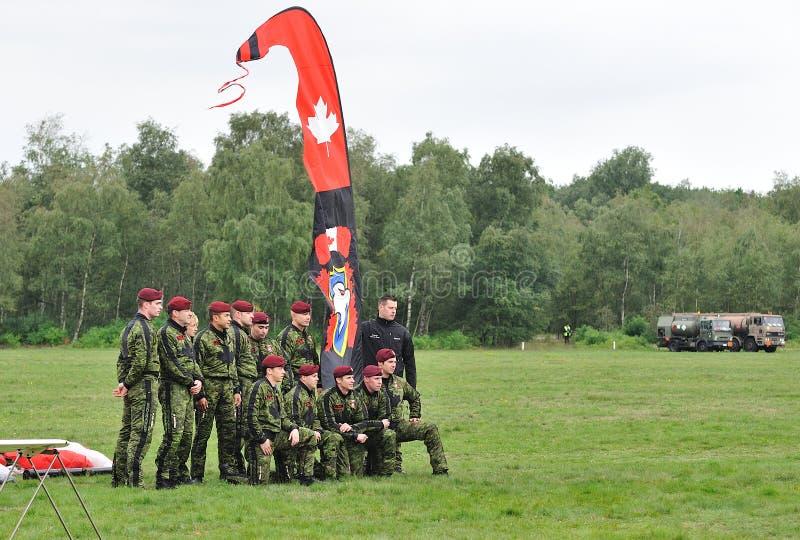 当前skydive小组的加拿大 库存照片