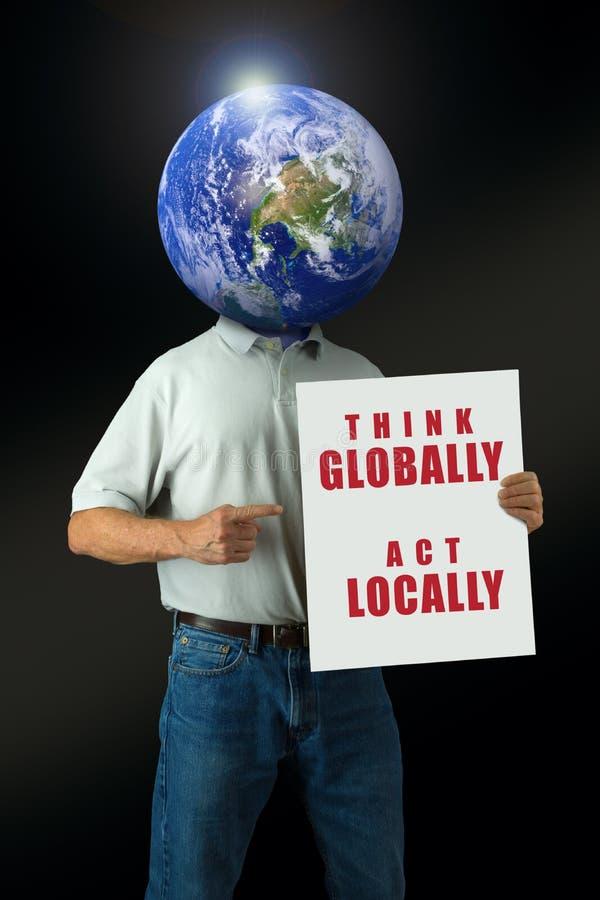 当地全球性地认为有地球头的行动环境消息人 免版税图库摄影