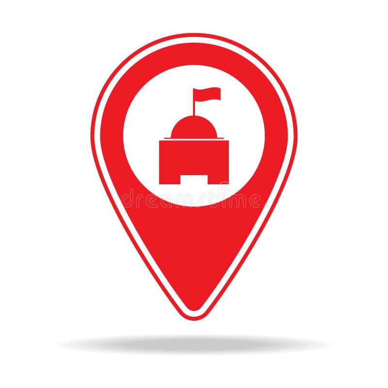 当地政府地图别针象 警告航海别针象的元素流动概念和网apps的 详细的当地政府m 皇族释放例证