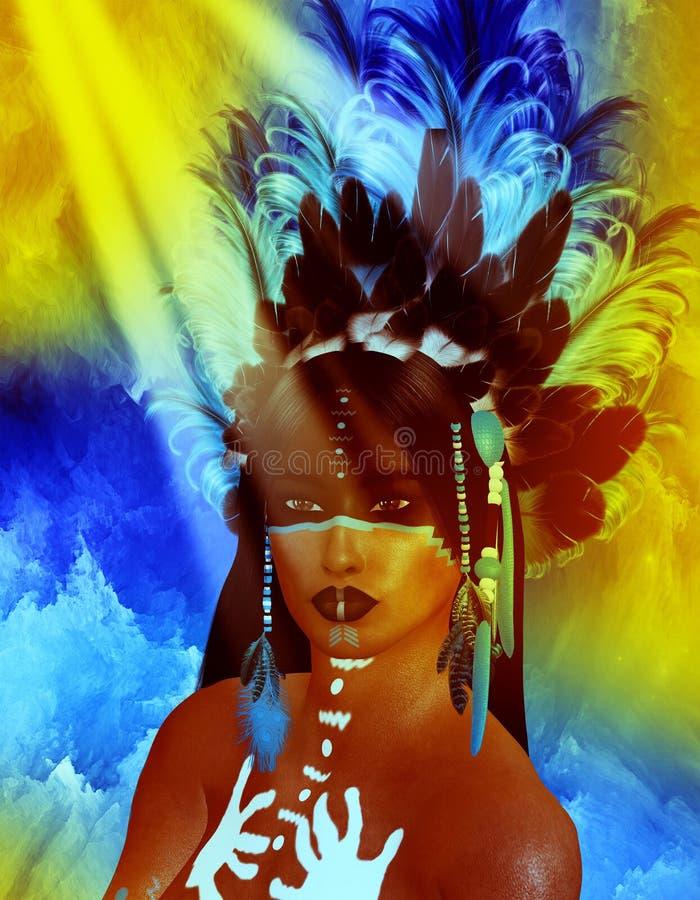 当地美洲印第安人女性秀丽,日落背景 库存例证