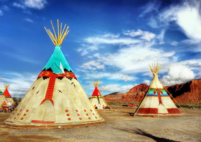 当地美洲印第安人帐篷圆锥形帐蓬 库存照片