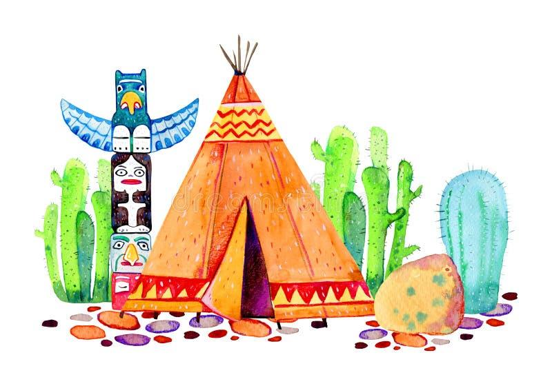 当地美洲印第安人村庄 圆锥形帐蓬、标识杆和仙人掌 r 向量例证