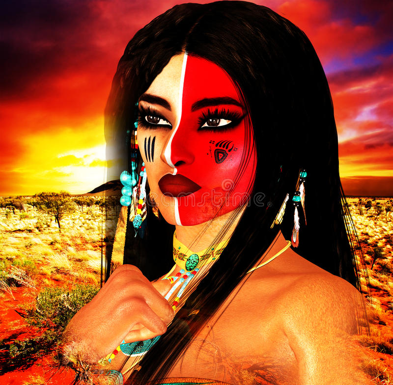 当地美洲印第安人女性秀丽、日落背景和被绘的面孔在我们独特的数字式艺术样式 免版税库存照片