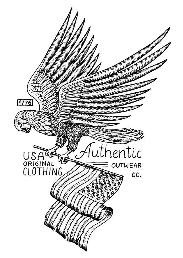 当地老鹰美国人 野生鸟 老标签和徽章 刻记手拉在老剪影 美国标志,爱国者旗子  皇族释放例证