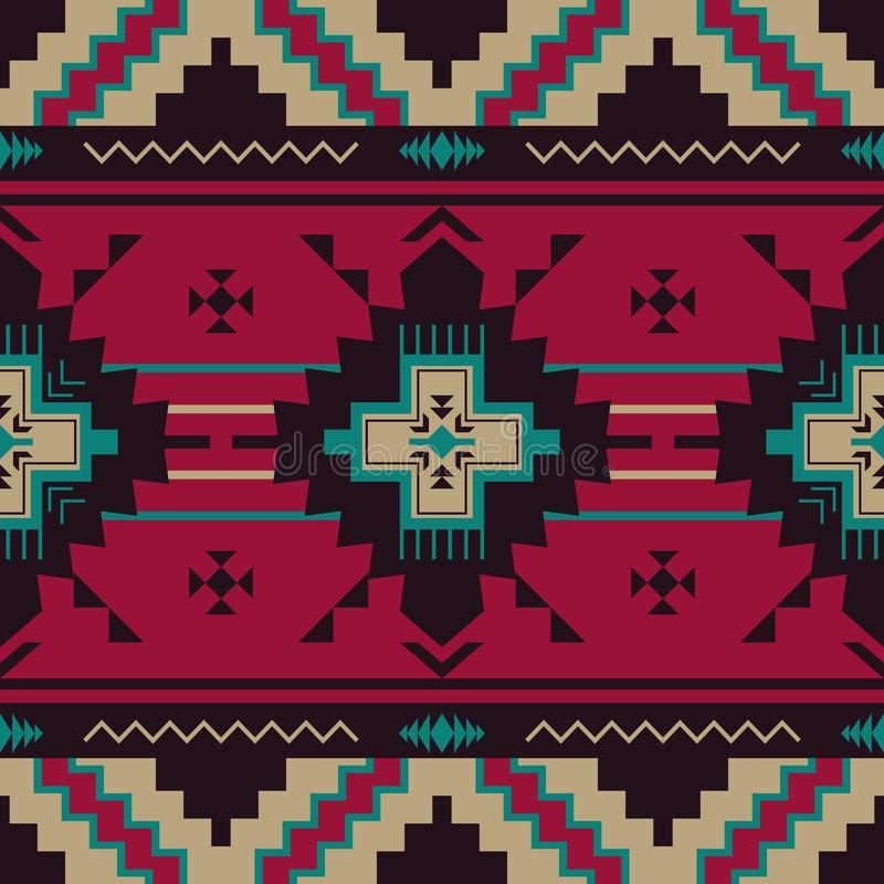 当地西南美国,印地安语,阿兹台克,那瓦伙族人无缝的啪答声 库存例证