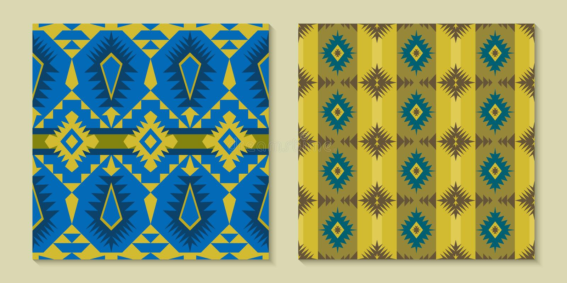 当地西南美国,印地安,阿兹台克,几何无缝的轻拍 皇族释放例证