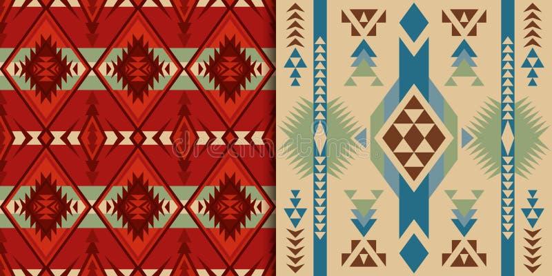 当地西南美国,印度,阿兹台克,几何,那瓦伙族人和 向量例证