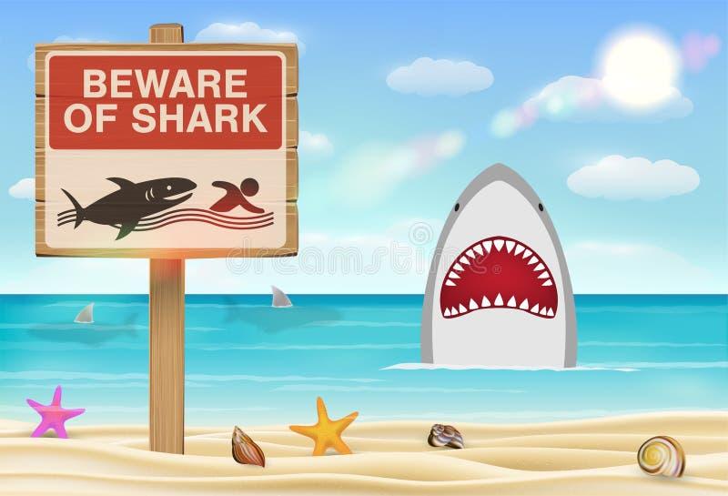 当心在海沙海滩的鲨鱼标志 皇族释放例证
