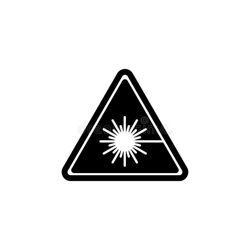 当心激光,警告辐射光芒平的传染媒介象 库存例证