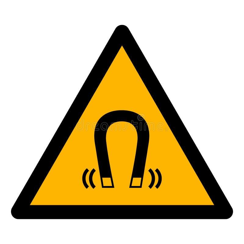 当心磁场标志在白色背景,传染媒介例证EPS的标志孤立 10 库存例证