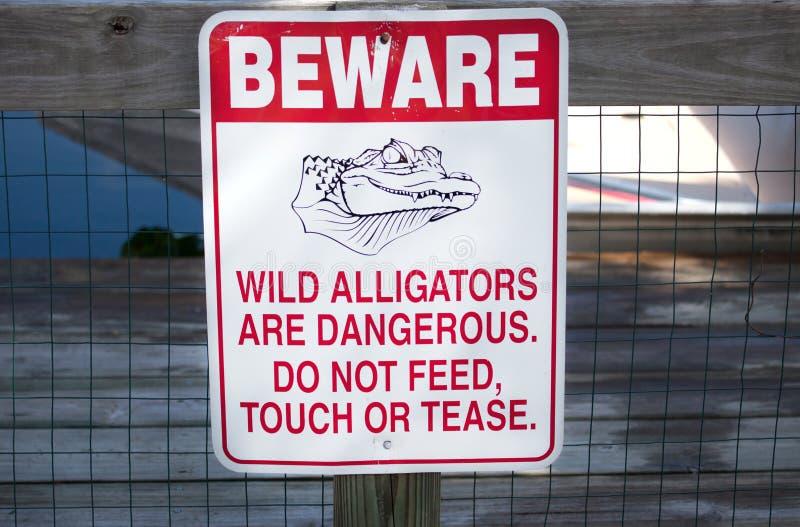 当心鳄鱼标志 免版税图库摄影
