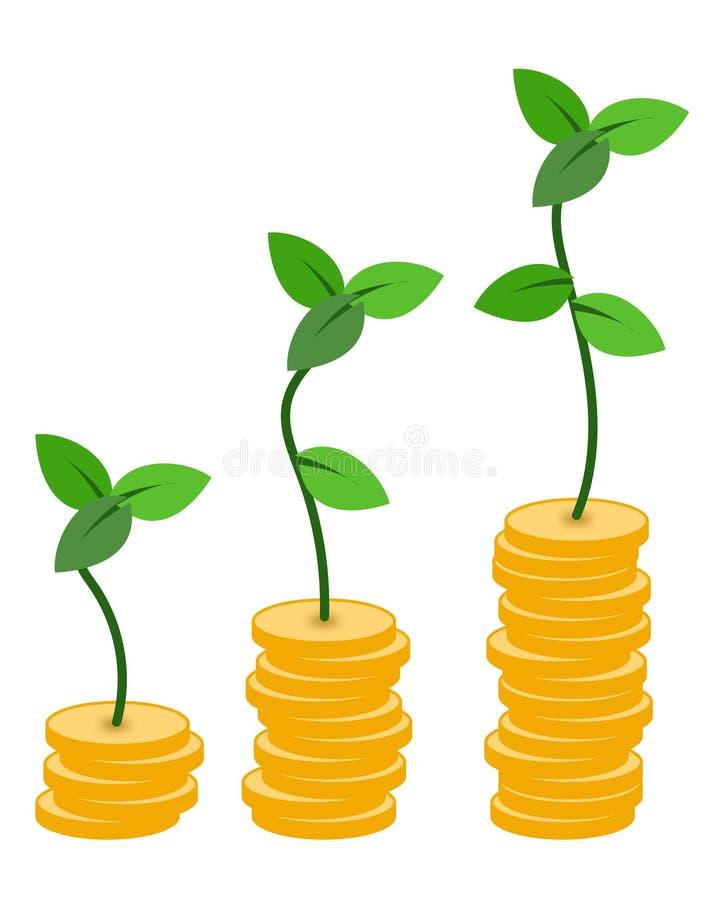 当您保存,保存的金钱的抽象概念和观看它增长 库存例证