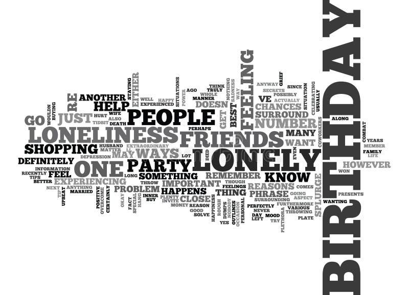 当您是孤独的在您的生日词云彩 库存例证