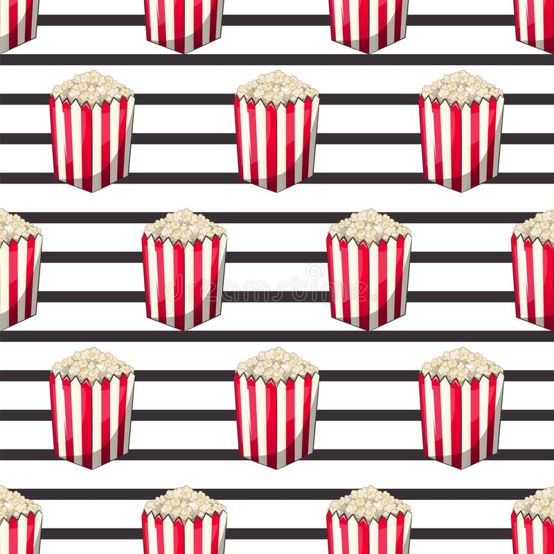 当您观看电影时,玉米花在您的产物的,开胃菜桶小条封皮箱子被隔绝 模式 皇族释放例证