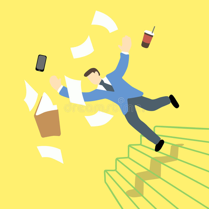 当文件夹和片剂在天空中时,商人是丢失的平衡和跌倒在楼梯 皇族释放例证