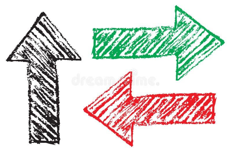 当方向标被设置的红色,绿色和黑脏的手拉的箭头做用手笔书写与概略的概述冲程 皇族释放例证