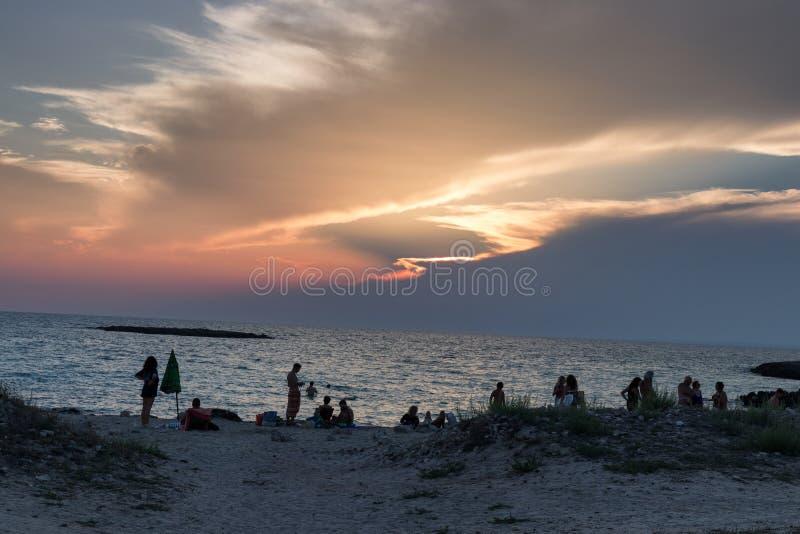 当晚Frascone海滩 图库摄影