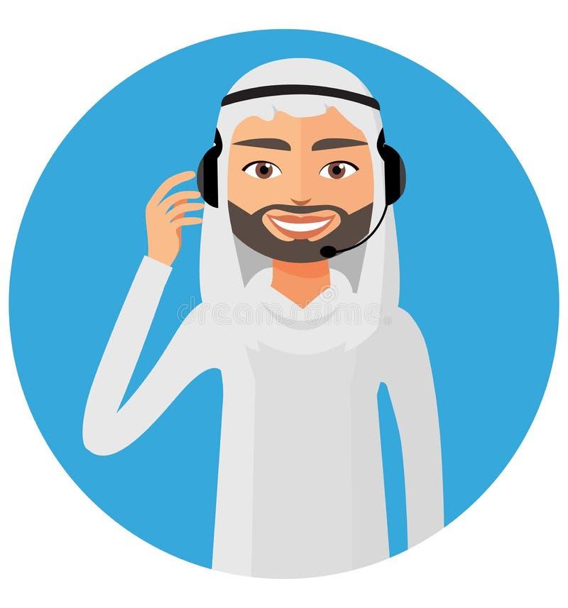 当班的耳机的阿拉伯顾客服务电话中心操作人员 皇族释放例证