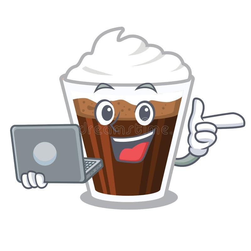 当膝上型计算机爱尔兰coffe隔绝与动画片 库存例证