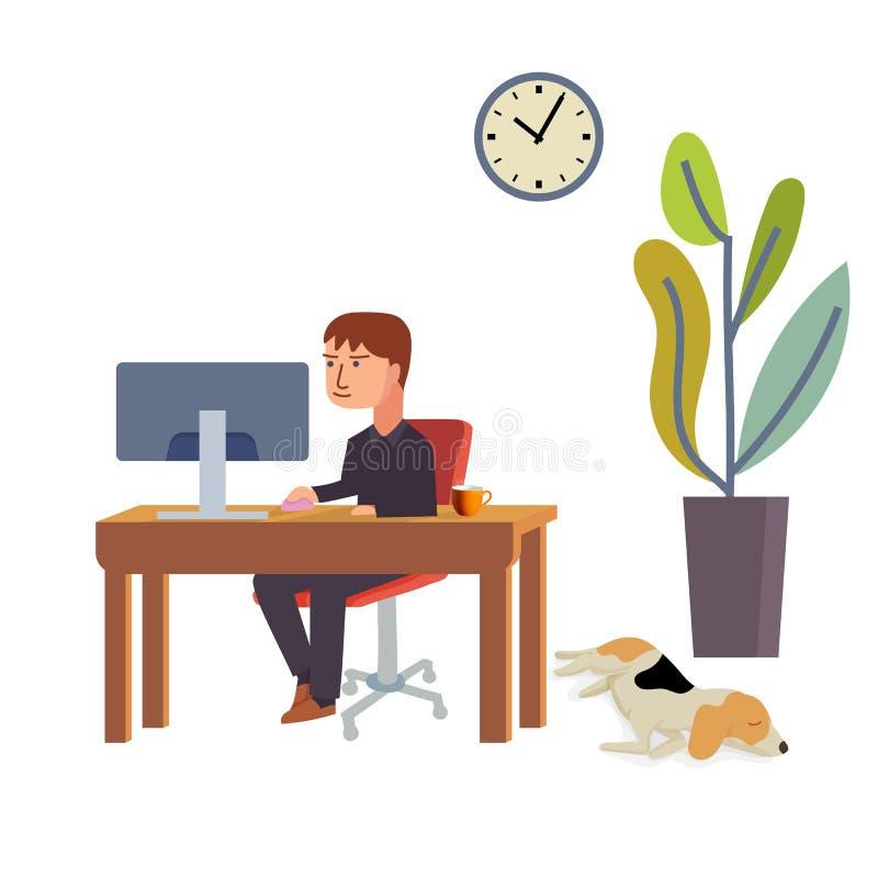 当逗人喜爱的小猎犬狗在地板上时,睡觉商人工作在书桌使用个人计算机 库存例证
